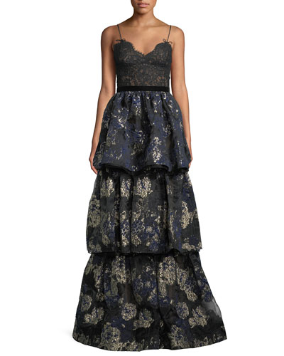 Sleeveless Lace-Bodice Metallic-Brocade Tiered Evening Gown