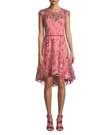 b8145c28 Marchesa Notte Cap-Sleeve Floral-Embroidered Tulle Cocktail Dress w/ Velvet  Belt