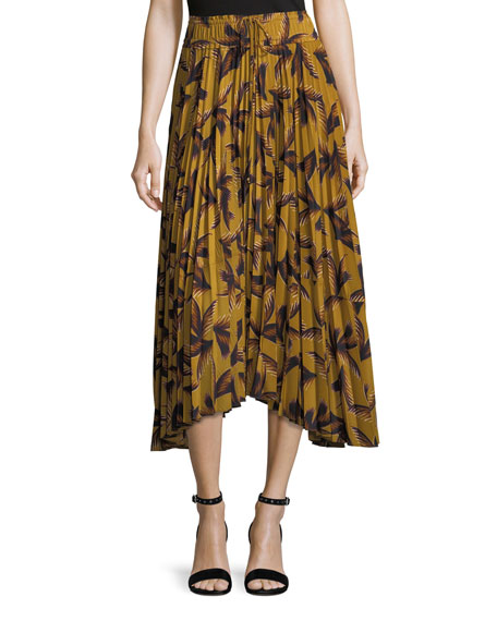 Maya Printed Pleated A-Line Midi Skirt