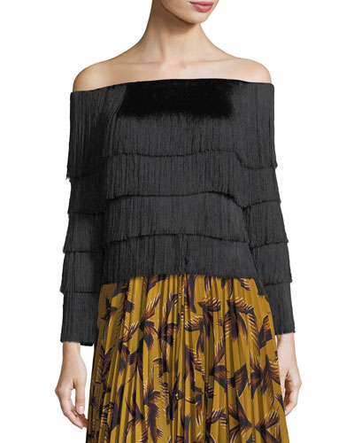 Andrie Off-the-Shoulder Tiered Fringe Top