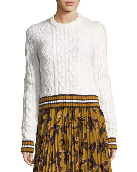 Alpha Crewneck Cable-Knit Sweater