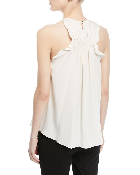 Sleeveless Flowy Top w/ Flounce Back Detail