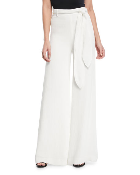 Crinkle Crepe Self-Tie Wide-Leg Pants