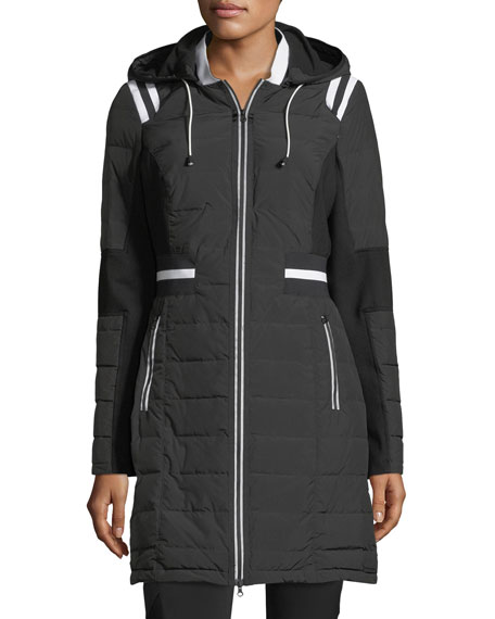 Stadium Hooded Zip-front Puffer Jacket