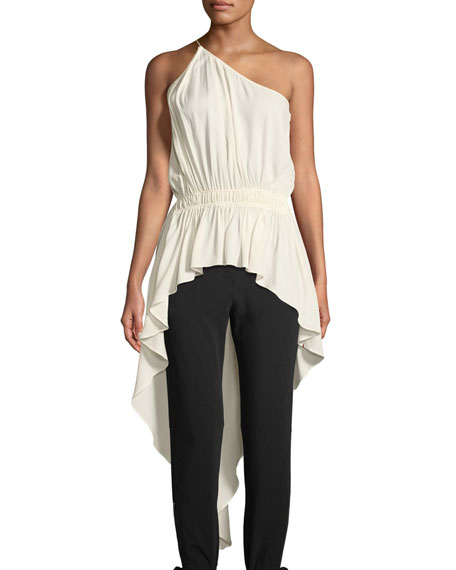 Gathered Asymmetric One-Shoulder Top