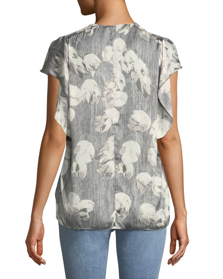 Printed V-Neck Top w/ Ruching