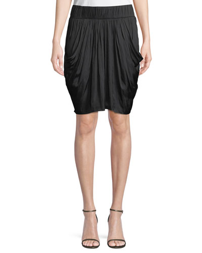Ruched-Waist Flowy Knee-Length Skirt