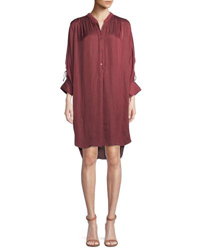 Ruched Oversized Shirt Dress