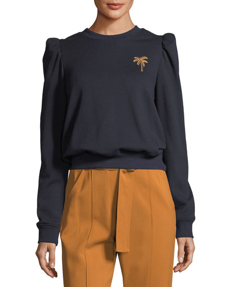 Prescott Crewneck Sweatshirt with Mini Palm Embroidery