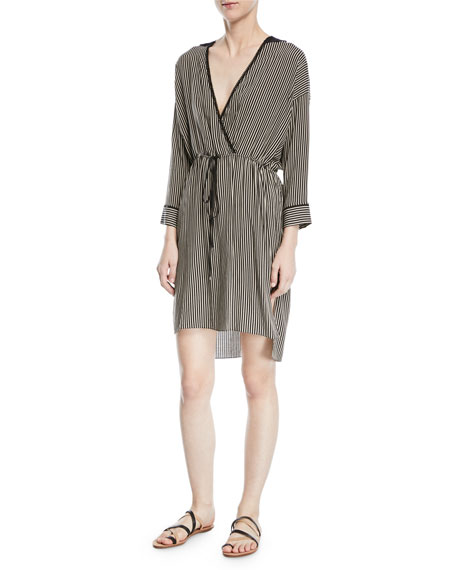 Image 1 of 1: Stripe-Print V-Neck Self-Tie Kaftan Dress