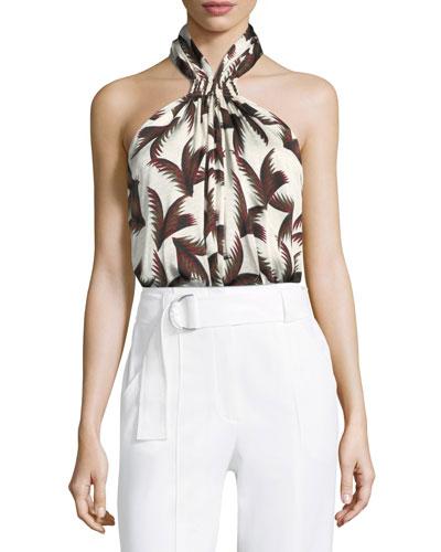 Leda Printed Silk Halter Top