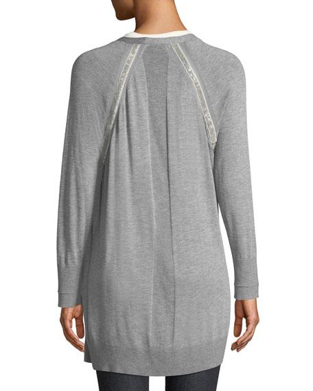 Chain-Detail Trim Silk-Blend Cardigan