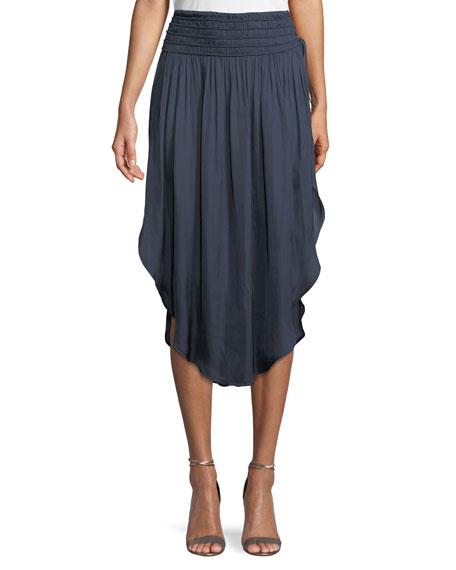 Ruched-Waist Flowy Midi Skirt