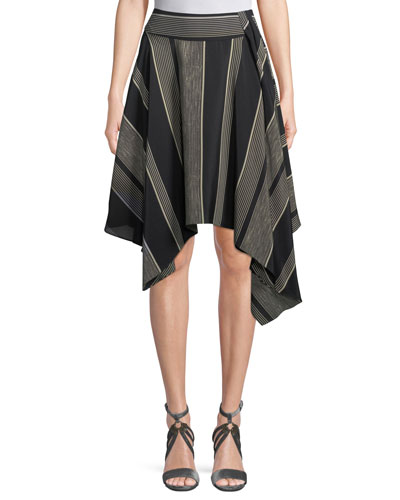 Handkerchief-Hem Striped Skirt