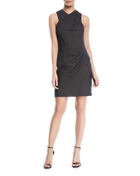 Halston Heritage Wrapped Fitted-Draped Sleeveless Mini Dress