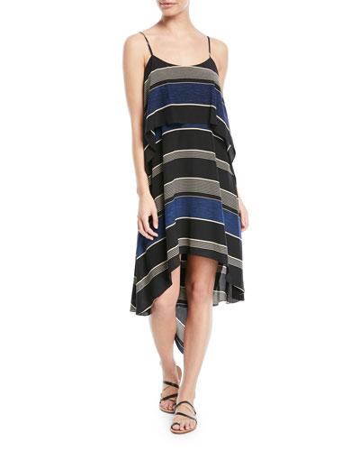 Stripe-Printed Layered Flounce Sleeveless Dress