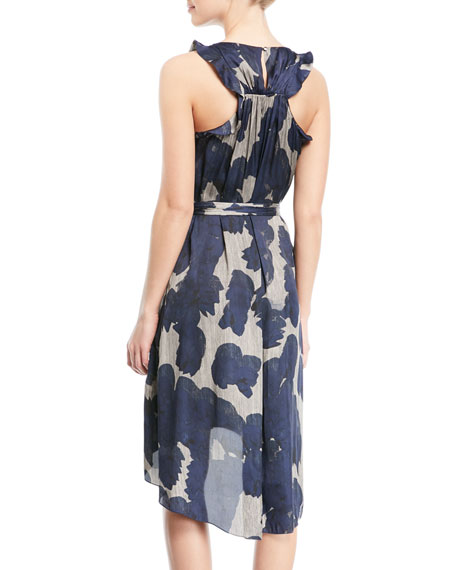 Printed Sleeveless Self-Tie High-Low Dress