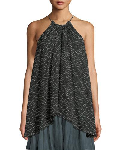 Dot-Print Ruched-Neck Flowy Silk Camisole