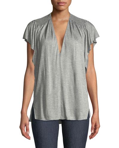 Ruched-Shoulder V-Neck Top
