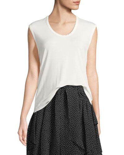 Sleeveless Round-Neck Easy T-Shirt