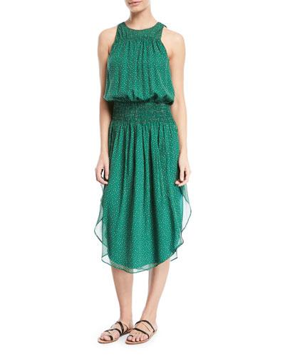 Printed Silk Ruched Sleeveless Dress