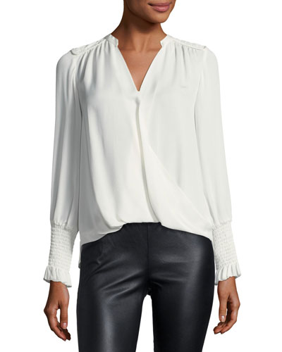 Long-Sleeve Silk Wrap Top