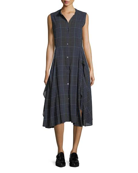 Cassidy Sleeveless Button-Front Plaid Dress