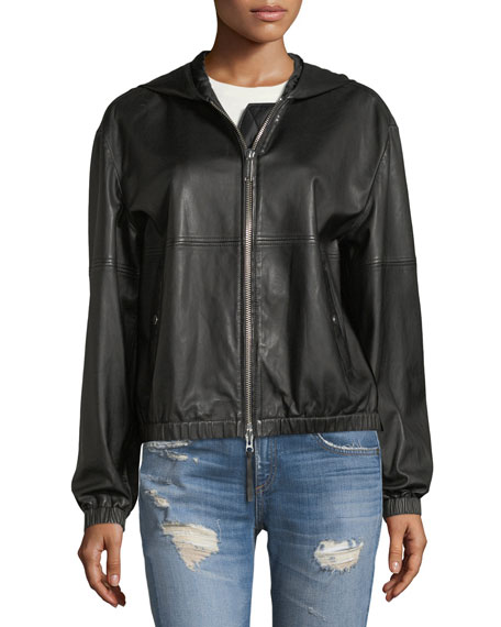 Kris Hooded Zip-Front Leather Jacket