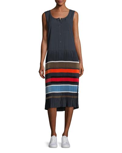 Jama Sleeveless Striped Pleated Midi Dress