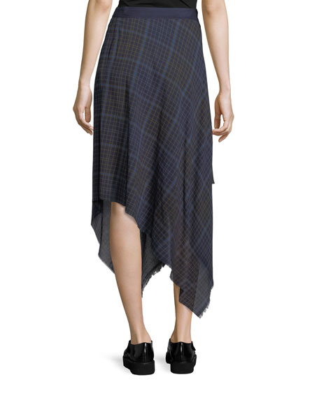 Danen Plaid Asymmetric Skirt