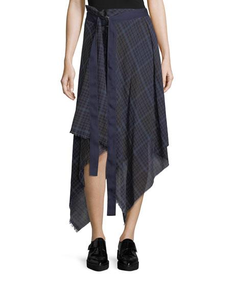 Public School Danen Plaid Asymmetric Skirt, NAVY
