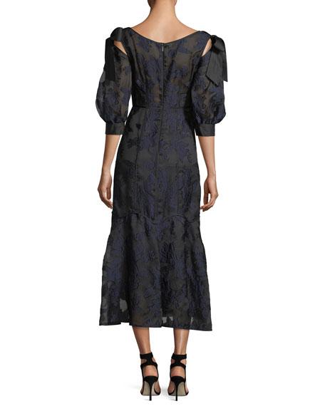 Short-Sleeve Floral-Jacquard Organza Dress