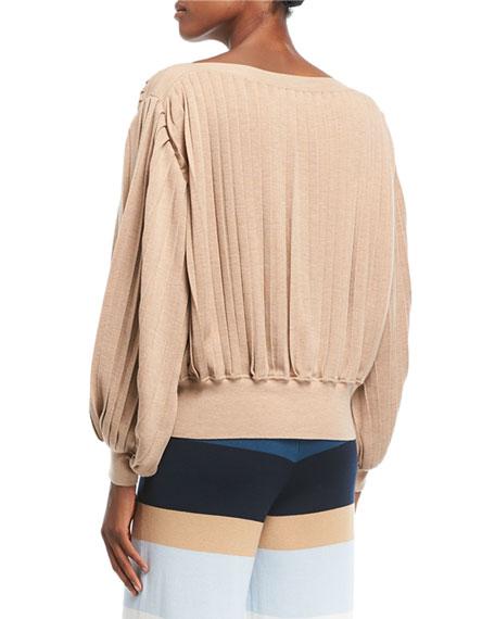 Rumba Boat-Neck Pleated Long-Sleeve Sweater