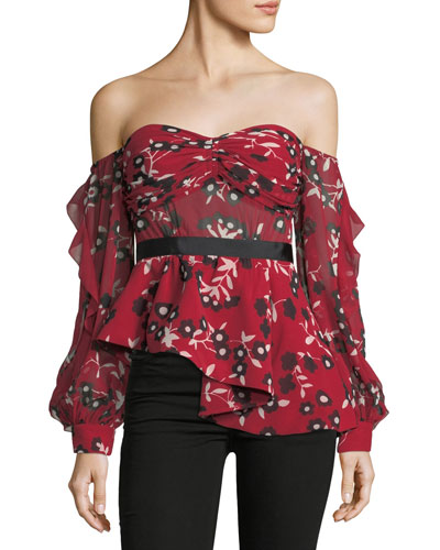 Off-the-Shoulder Floral-Print Peplum Top