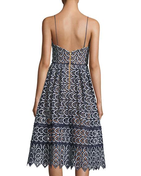 Sweetheart Azaelea Lace Fit-and-Flare Tea-Length Cocktail Dress