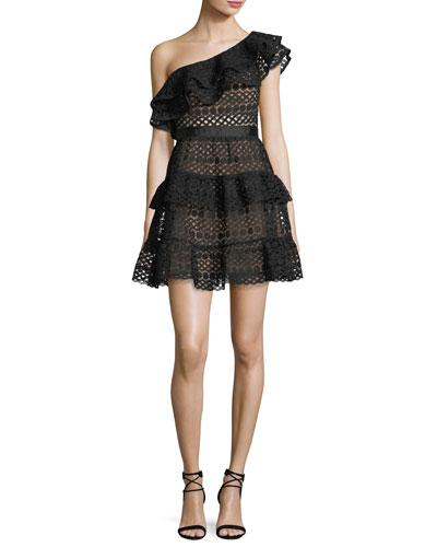 Floral-Chain One-Shoulder Mini Dress