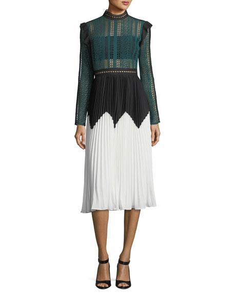 Stripe Paneled Long-Sleeve Lace Midi Dress