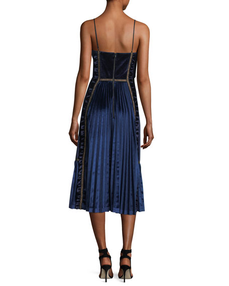 Sleeveless Velvet Paneled Midi Dress