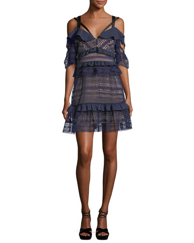 Paneled Lace Mini Cocktail Dress