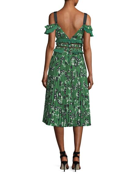 Cold-Shoulder Floral-Print Midi Dress with Pleats & Frills