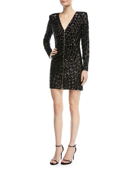 35fff413d6f319 Self-Portrait Zip-Front Sequined Mini Cocktail Dress
