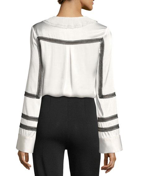 Monochrome Trimmed Long-Sleeve Satin Shirt