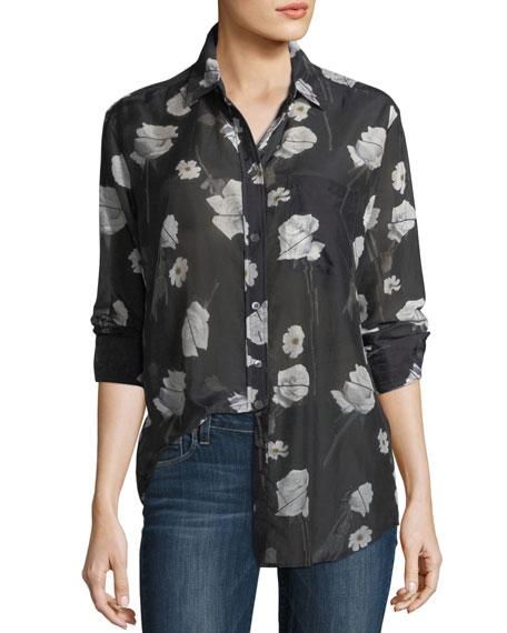 Rose-Print Button-Front Egyptian Cotton Shirt