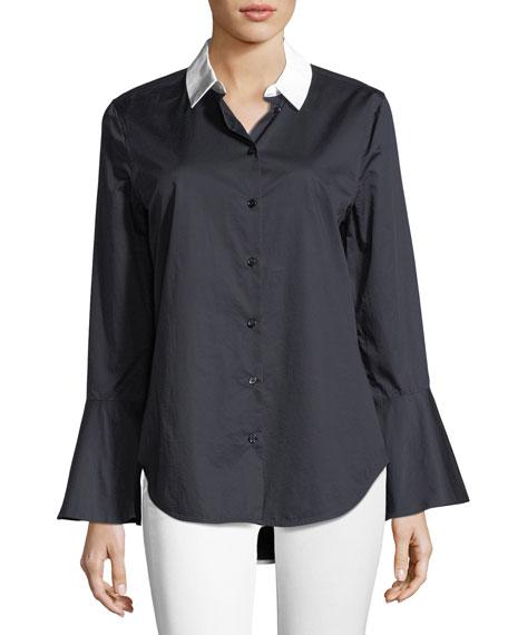 Darla Button-Front Flare-Cuff Poplin Shirt
