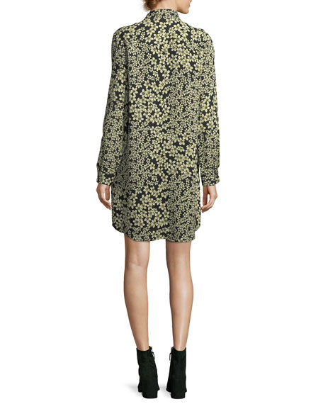 Freeda Field-Dreams Long-Sleeve Silk Shift Dress