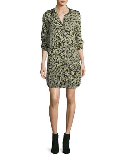 Freeda Field-Dreams Long-Sleeve Silk Shift Dress