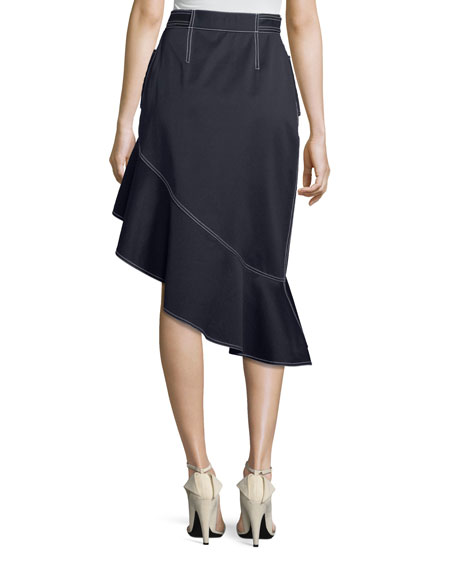 Flounce Canvas Asymmetric Skirt