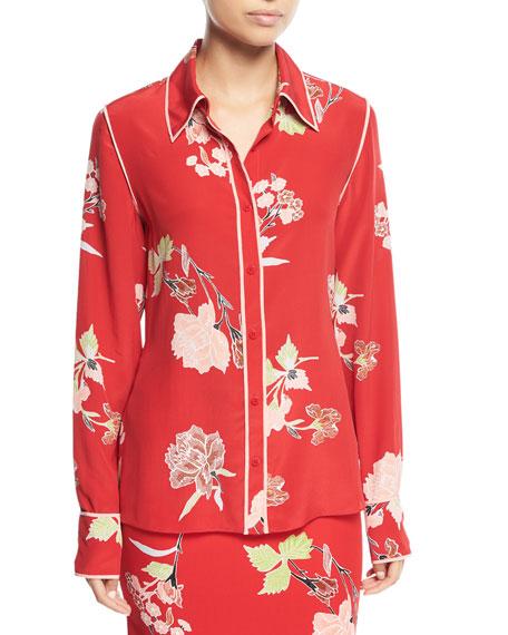 Floral-Print Long-Sleeve Silk Shirt