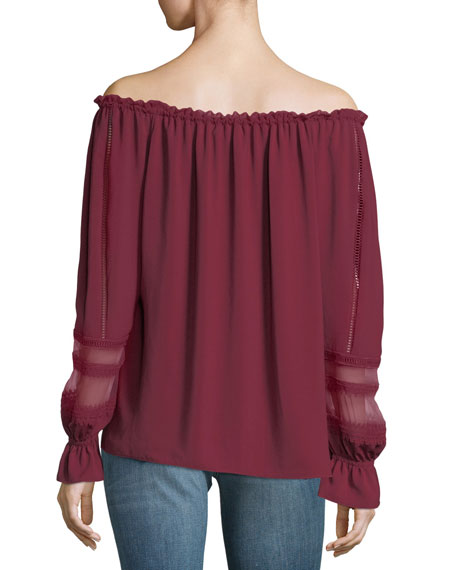 Thea Off-the-Shoulder Long-Sleeve Chiffon Top