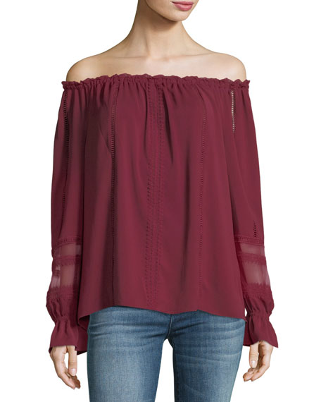 Thea Off-the-Shoulder Long-Sleeve Chiffon Top